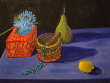 Bowl,Beads,Box,Fruit and Flower Oil on Canvas 18x24
