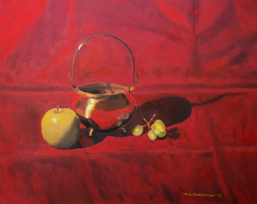 Brass Pot and Fruit  Oil on Canvas 16x20