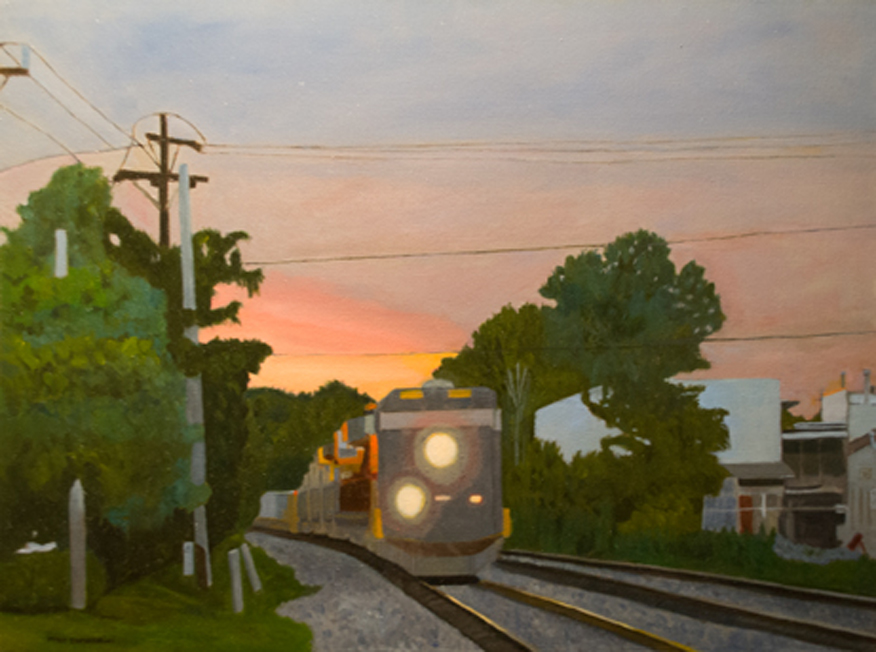 Train Rolling By Oil on Canvas 18x24
