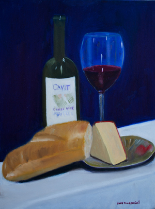 Wine and Cheese Oil on Canvas 16x12